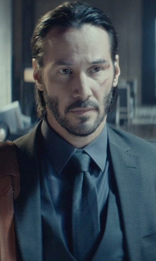 Keanu Reeves with James Perse Matte Stretch Poplin Dress Shirt in John Wick