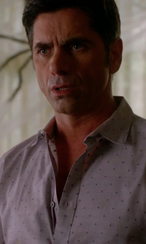John Stamos with Boss Hugo Boss Jenno Slim-Fit Dot-Print Dress Shirt in Scream Queens
