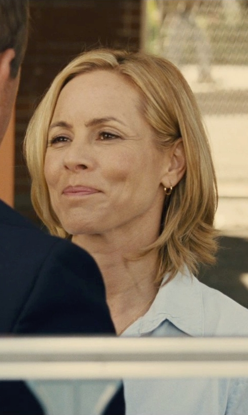 Maria Bello with Lands' End Women's Short Sleeve Oxford Shirt in McFarland, USA