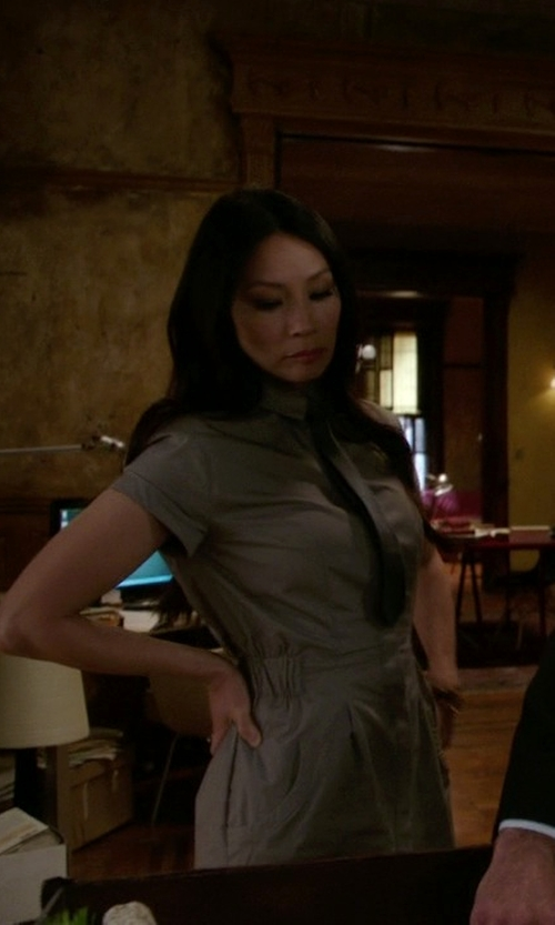 Lucy Liu with Topshop Utility Drawstring Dress in Elementary
