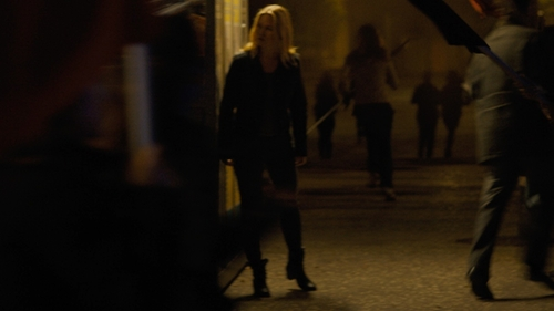 Julia Stiles with Fiorentini and Baker Ankle Wood Heel Side Zip Boots in Jason Bourne