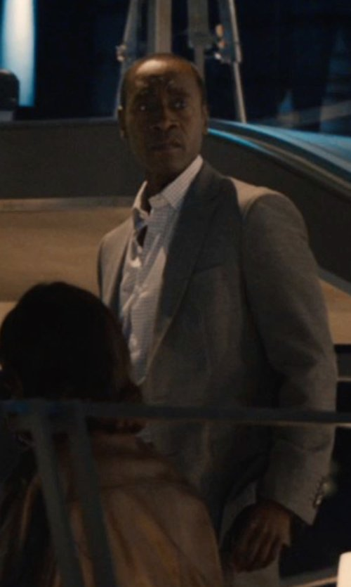 Don Cheadle with Theory Slyvain Solid Dress Shirt in Avengers: Age of Ultron
