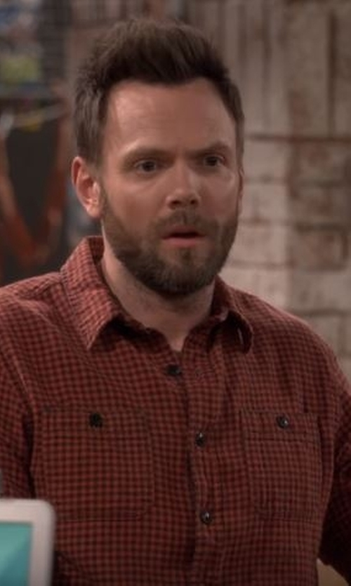 Joel McHale with Volcom Men's Everett Mini Check Long Sleeve Shirt in The Great Indoors