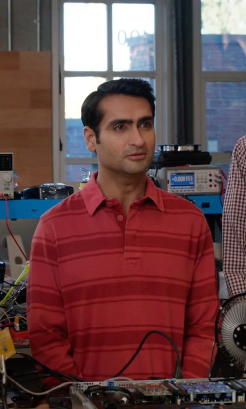 Kumail Nanjiani with French Connection Brunswick Stripe Shirt in Silicon Valley