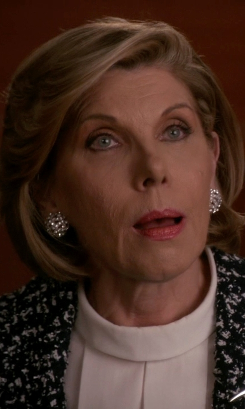 Christine Baranski with Roberto Coin Diamond Round Cluster Earrings in The Good Wife