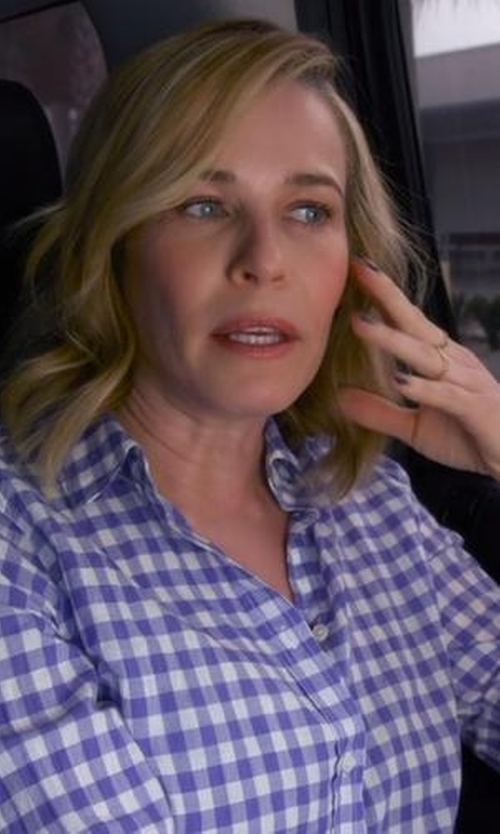 Chelsea Handler with Tommy Bahama Gingham Cover-Up Boyfriend Shirt in Chelsea