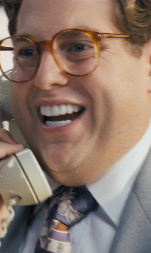 Jonah Hill with Garrett Leight Brown Hampton Sunglasses in The Wolf of Wall Street