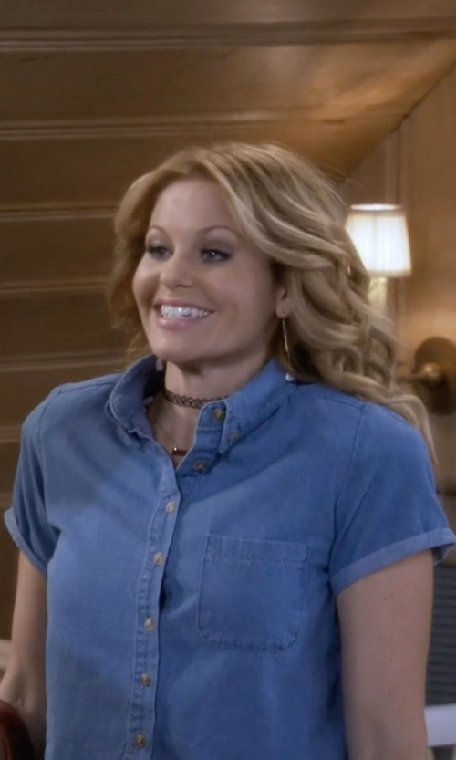 Candace Cameron Bure with 7 For All Mankind Multiple Pocket Denim Shirt in Fuller House