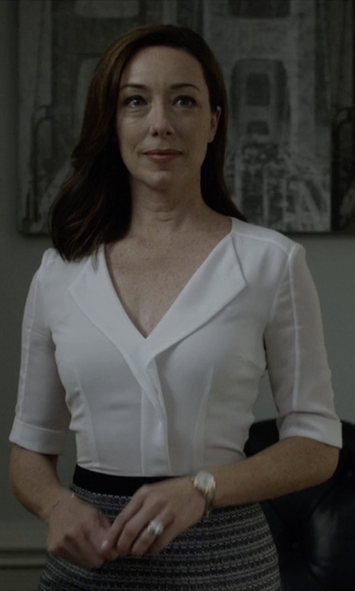 Molly Parker with Cp Shades Tennessee Silk Button Up  Top in House of Cards