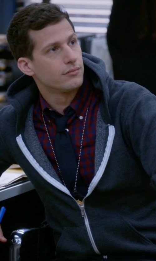 Andy Samberg with Threads for Thought Trim Fit Heathered Hoodie in Brooklyn Nine-Nine