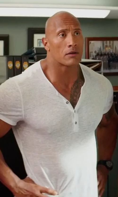 Dwayne Johnson with Faherty Heather Short-Sleeve Henley Tee in Baywatch