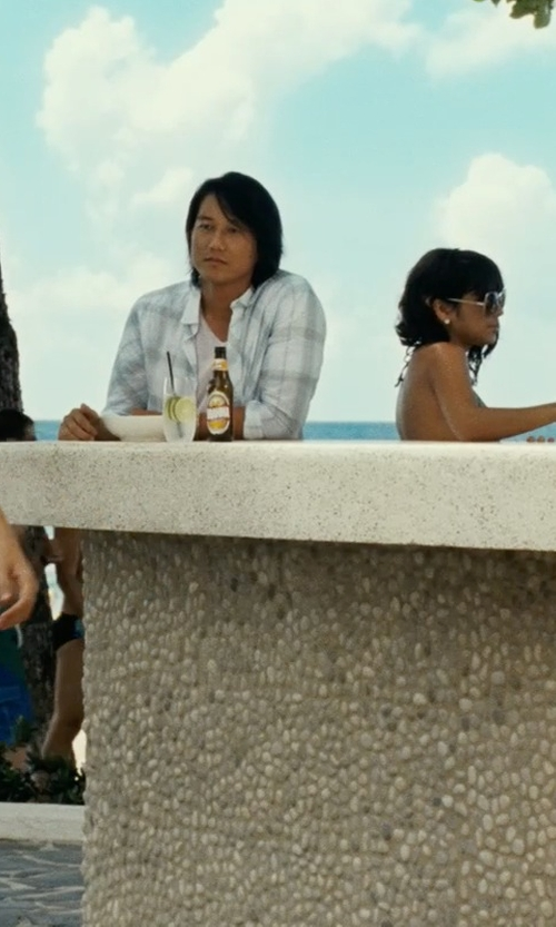 Sung Kang with Thom Browne Striped Button Down Shirt in Fast Five