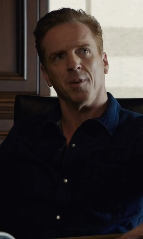 Damian Lewis with Lacoste Long Sleeve Solid Linen Shirt in Billions
