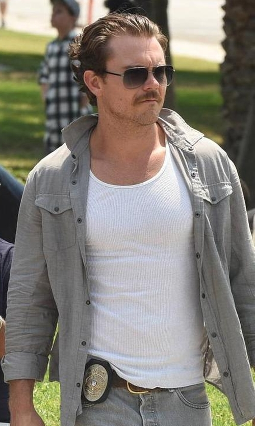 Clayne Crawford with Gucci Semi-Matte Metal Aviator Sunglasses in Lethal Weapon