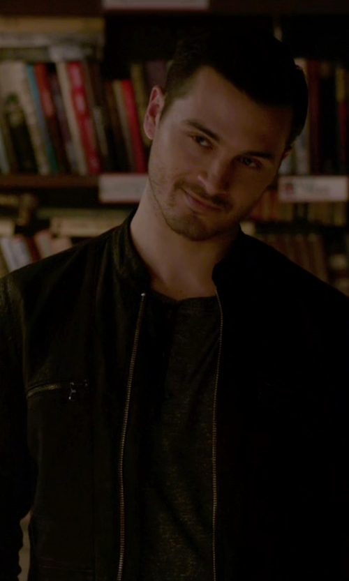 Michael Malarkey with Calvin Klein Faux Leather Four Pocket Moto Jacket in The Vampire Diaries