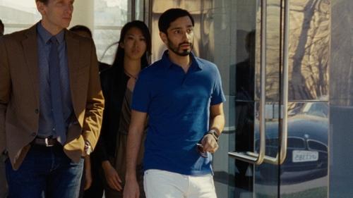 Riz Ahmed with John Varvatos Short-Sleeve Peace Polo Shirt in Jason Bourne