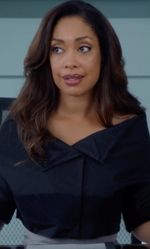 Gina Torres with Gareth Pugh Cape-Effect Cotton-Blend Faille Jacket in Suits