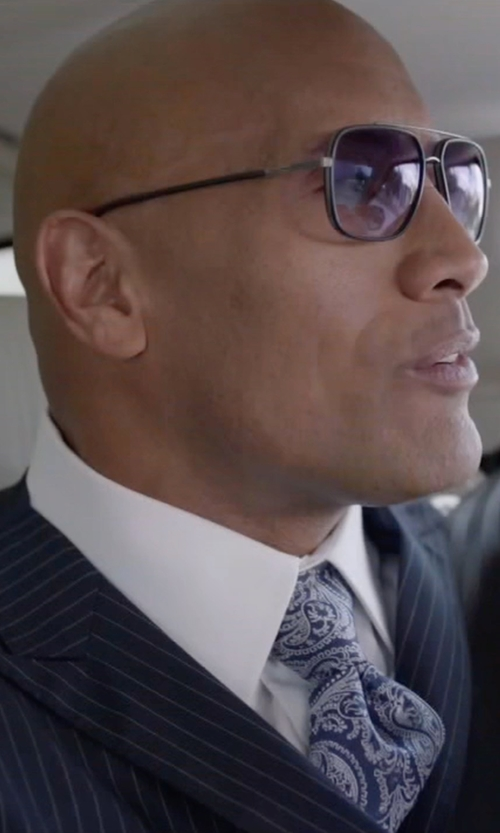 Dwayne Johnson with Tasso Elba Classic-Fit Non-Iron Twill Solid French Cuff Dress Shirt in Ballers