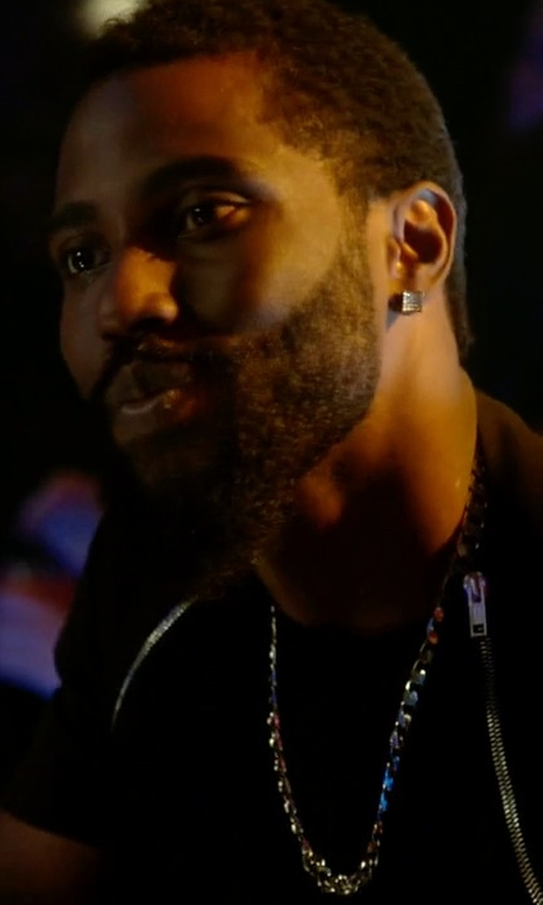 John David Washington with Beauniq Miami Cuban Link Chain Necklace in Ballers