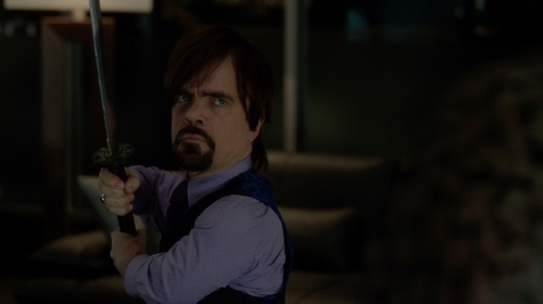 Peter Dinklage with Anto Light Purple Print Shirt in The Boss