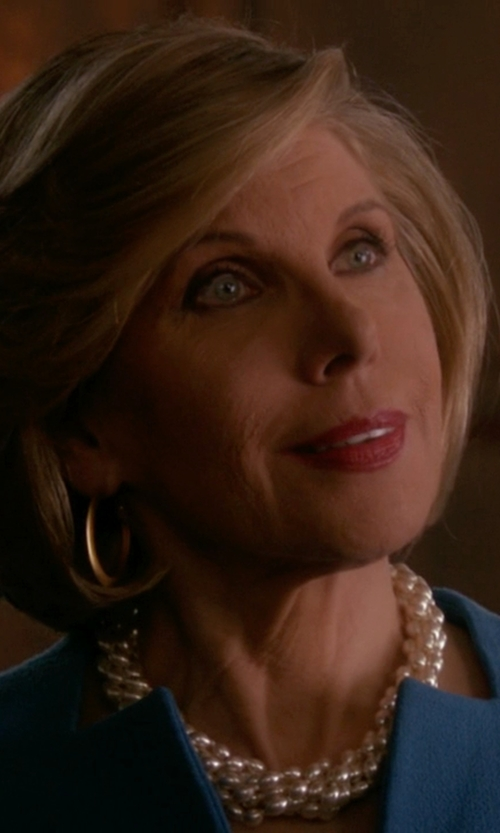 Christine Baranski with Kenneth Jay Lane Faux Pearl Twist Necklace in The Good Wife
