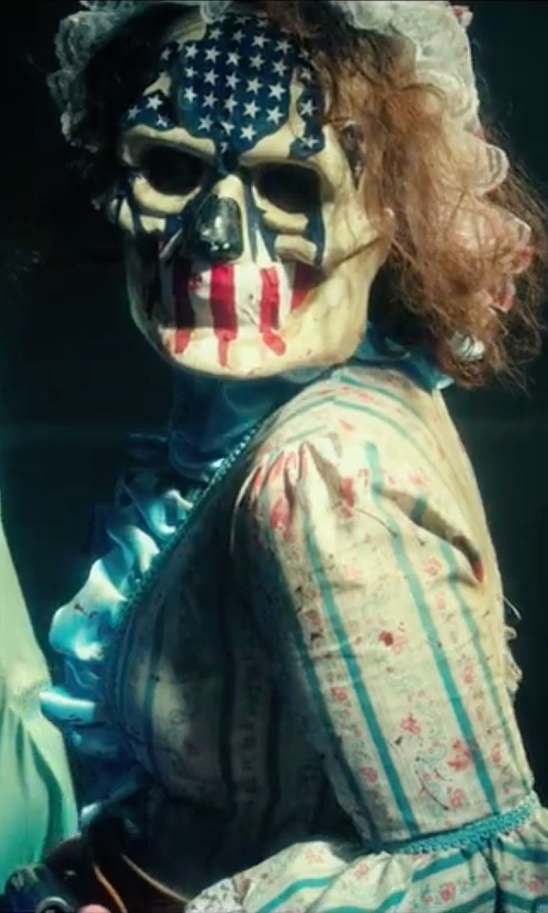 Unknown Actor with Maskshow Human Skull Latex Mask in The Purge: Election Year