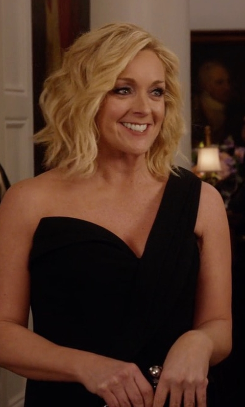 Jane Krakowski with Brandon Maxwell One-Shoulder High-Slit Crepe Gown in Unbreakable Kimmy Schmidt