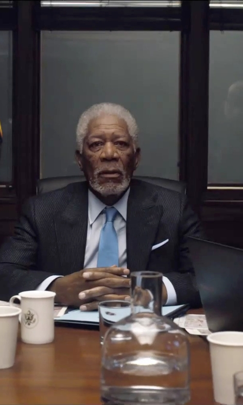 Morgan Freeman with Turnbull & Asser Silk Pocket Square in London Has Fallen