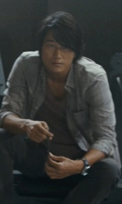 Sung Kang with Aether Pieced Zip-Pocket Jersey T-Shirt in Fast Five
