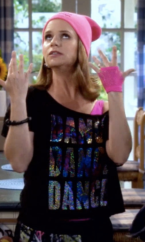 Andrea Barber with Gia Mia Sequin Lace Back Dance Top in Fuller House