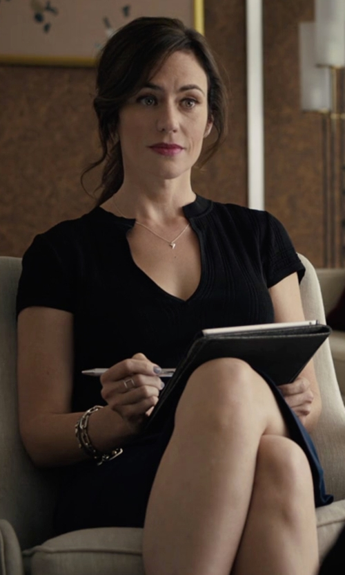 Maggie Siff with Alice + Olivia Barry Short-Sleeve V-Neck Mini Dress in Billions