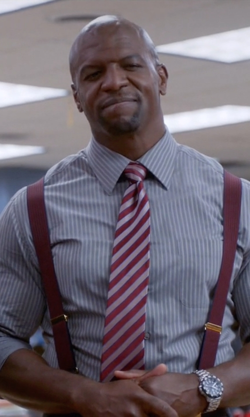 Terry Crews with Ike Behar Striped Silk Tie in Brooklyn Nine-Nine
