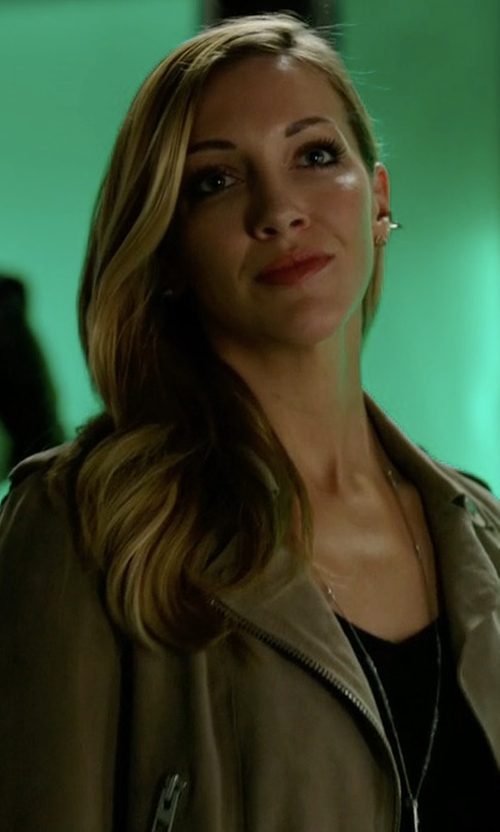 Katie Cassidy with Chan Luu Mystic Labradorite Diamond & Dagger Necklace in Arrow