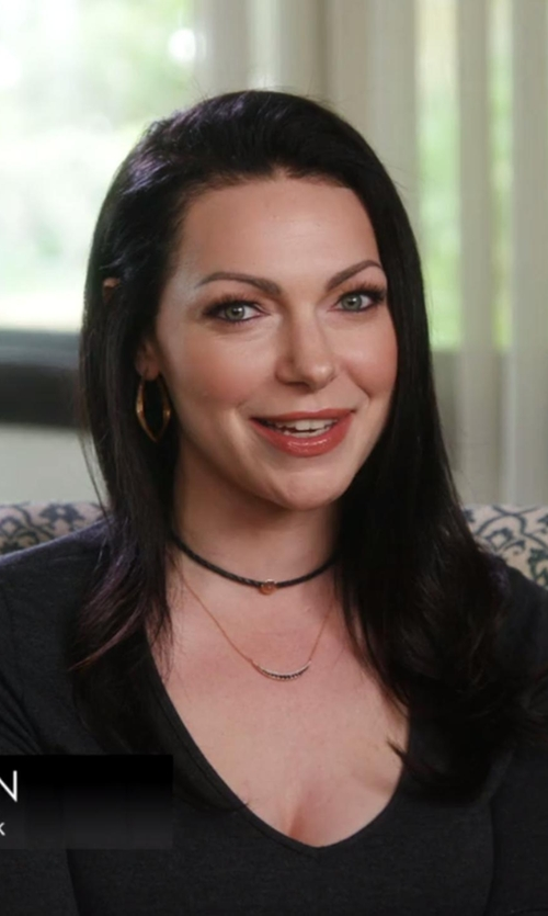 Laura Prepon with Adina Reyter Large Pave Curve Necklace in Chelsea