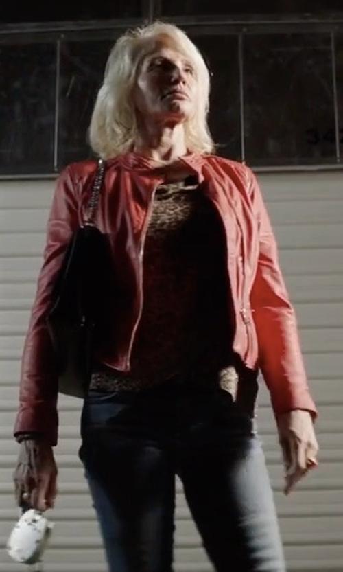 Ellen Barkin with Set Tyler Leather Jacket in Animal Kingdom