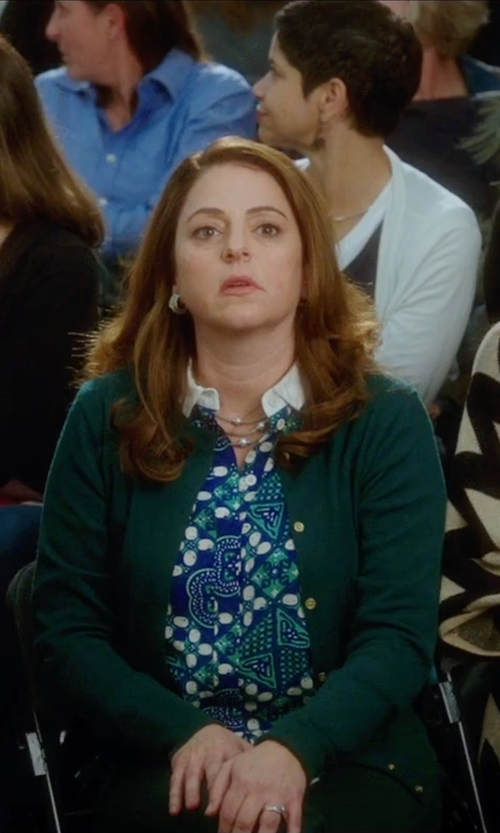 Annie Mumolo with Talbots Long Printed Shirt in Bad Moms
