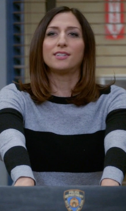 Chelsea Peretti with 360 Cashmere Cashmere Striped Pullover Sweater in Brooklyn Nine-Nine