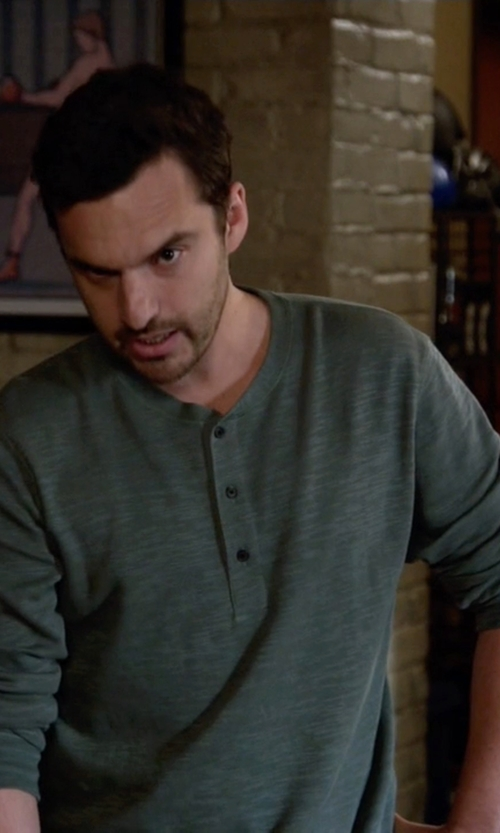 Jake Johnson with Billy Reid Hunter Henley Shirt in New Girl