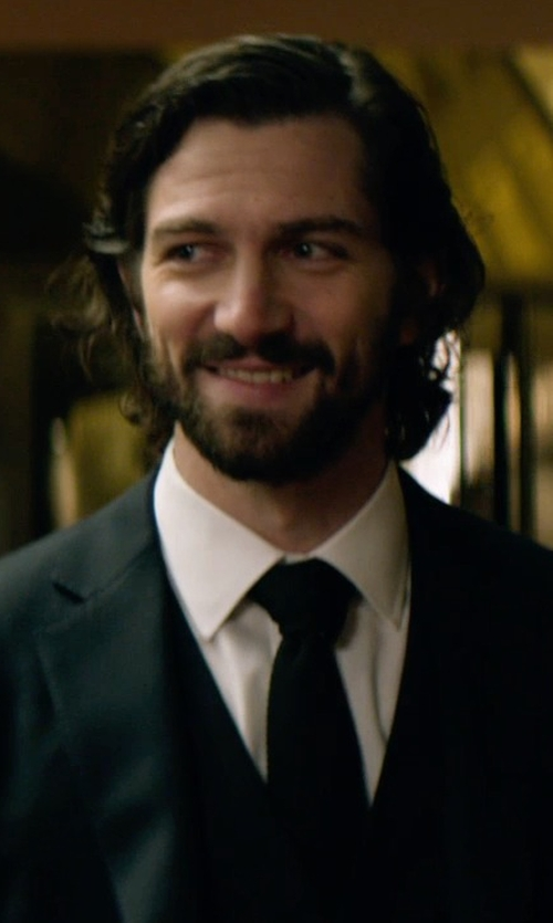 Michiel Huisman with Stefano Ricci Tonal-Stripe Tuxedo Shirt in The Age of Adaline