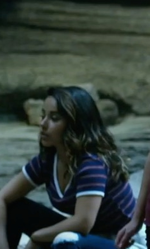 Naomi Scott with Vince Striped V-Neck Tee in Power Rangers