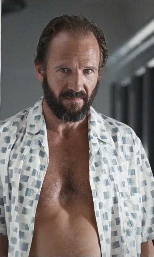 Ralph Fiennes with Zanerobe 'Seven Ft - Solar' Print Woven Shirt in A Bigger Splash