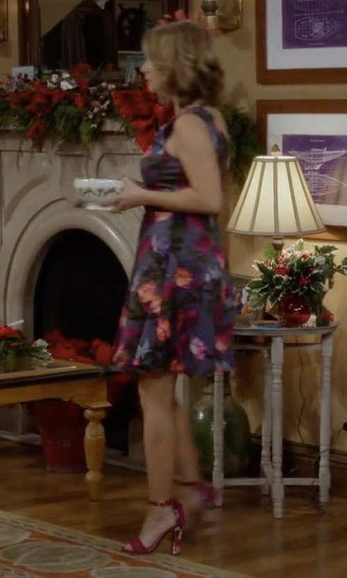 Andrea Barber with Betsey Johnson Rallo Floral Block Heel Sandals in Fuller House