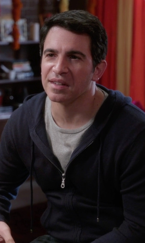 Chris Messina with Theory Melker Breach Zip-Front Hoodie in The Mindy Project