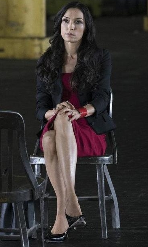 Famke Janssen with SJP By Sarah Jessica Parker Fawn High Heel Pumps in The Blacklist
