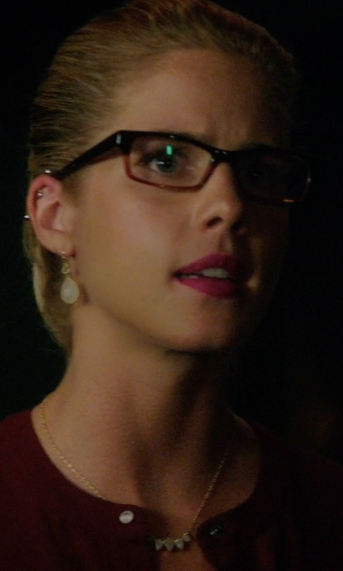 Emily Bett Rickards with Anthropologie Aufeis Drop Earrings in Arrow