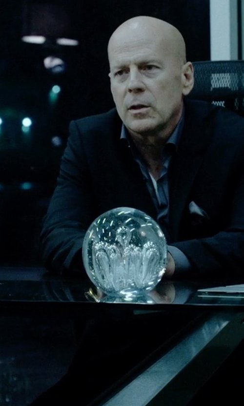 Bruce Willis with Quartz Clear Crystal Ball in Vice