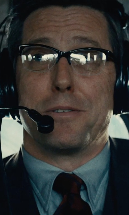 Hugh Grant with Persol Semi Rimless Metal Eyeglasses in The Man from U.N.C.L.E.