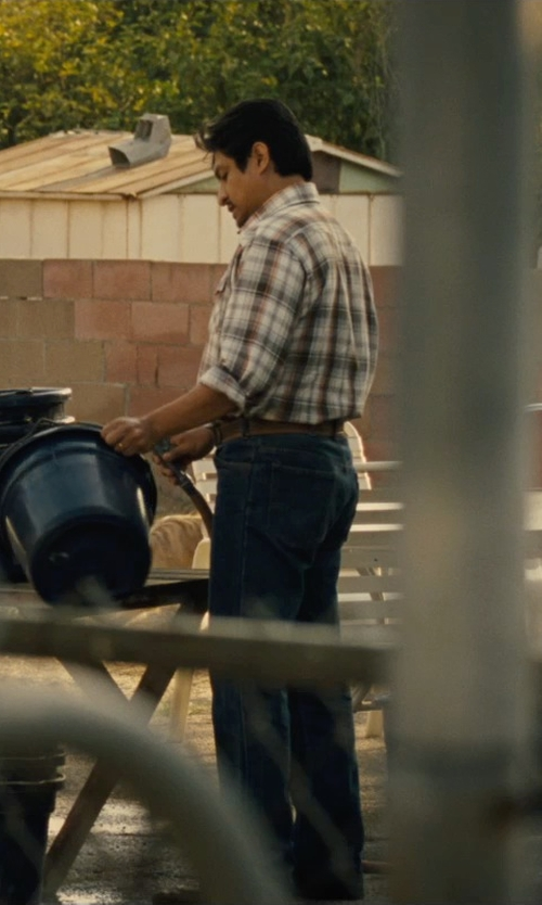 Omar Leyva with Kenneth Cole New York Plaid Woven Shirt in McFarland, USA