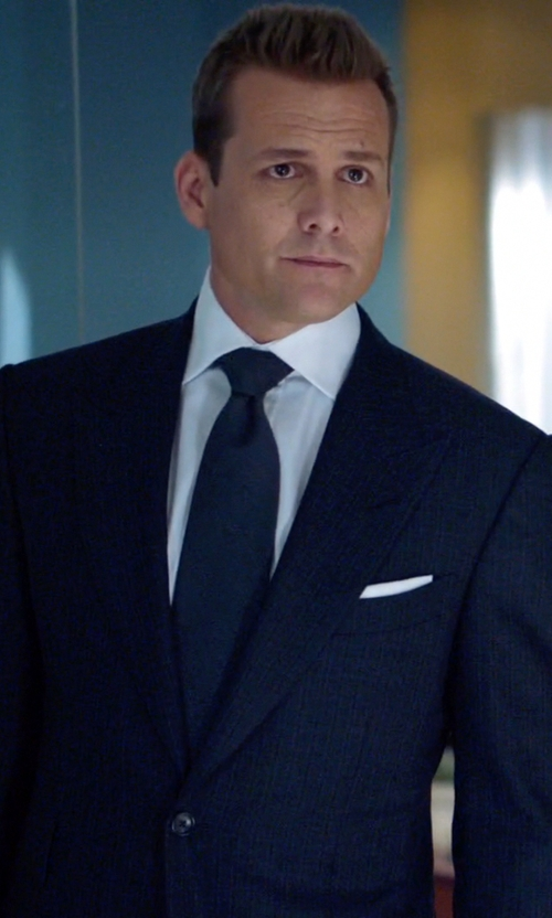 Gabriel Macht with Alexander McQueen Skull-Jacquard Cotton Pocket Square in Suits