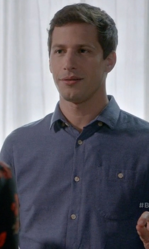 Andy Samberg with Still By Hand Denim Shirt in Brooklyn Nine-Nine
